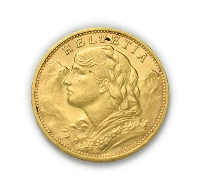 Lot 4085 - Switzerland, 1930 B Twenty Francs. 6.45g of .900 gold. Bern mint. Obv: Bust of young woman from...