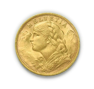 Lot 4086 - Switzerland, 1947 B Twenty Francs. 6.45g of .900 gold. Bern mint. Obv: Bust of young woman from...