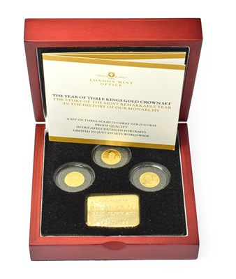 Lot 4087 - Tristan Da Cunha, 2010 ''Year of the Three Kings'' 3-Coin Gold Proof Set. Each coin 1.27g of...