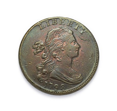Lot 4090 - USA, 1798 ''Draped Bust'' Cent. Second hair style. Obv: Draped bust of Lady Liberty facing...