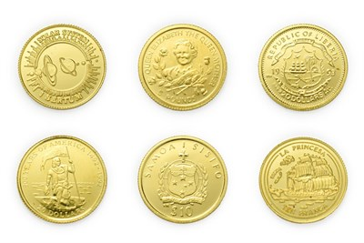 Lot 4092 - A Collection of 6 x World Gold Coins consisting of: Guernsey, 1998 gold 5 pounds. 1.24g .999...