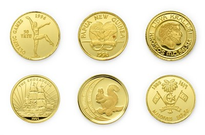 Lot 4093 - A Collection of 6 x World Gold Coins consisting of: Maldives, gold proof fifty rufiyaa. 1.24g...