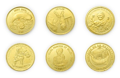 Lot 4094 - A Collection of 6 x World Gold Coins consisting of: Maldives, 1995 gold proof 50 rufiyaa. 1.24g...