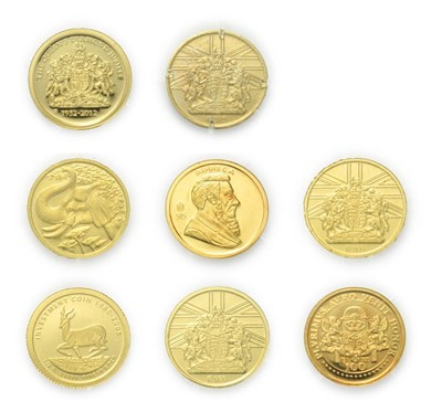Lot 4095 - A Collection of 8 x World Gold Proof Coins. Each coin is 0.5g of 14ct (.585) gold and struck to...