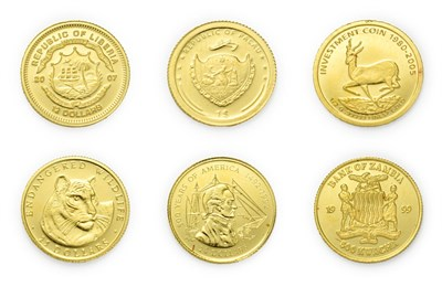 Lot 4096 - A Collection of 6 x World Gold Coins consisting of: Cook Islands, 1995 gold 20 dollars. 1.24g...