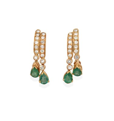 Lot 2014 - A Pair of Emerald and Diamond Drop Earrings, two yellow bars set throughout with eight-cut diamonds