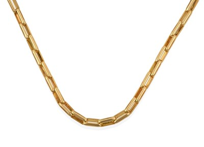 Lot 2015 - A French Necklace, the yellow rectangular trace links terminating to a lobster claw catch inset...