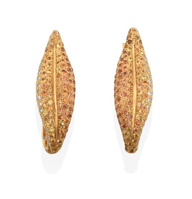 Lot 2016 - A Pair of Diamond, Yellow Sapphire and Citrine Earrings, the leaf motif set throughout with...