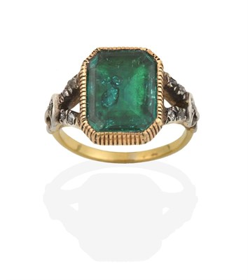 Lot 2031 - A Georgian Emerald and Diamond Ring, the emerald-cut emerald in a yellow millegrain setting, to...