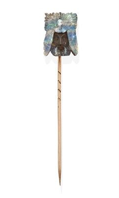 Lot 2033 - A Late 19th Century Opal Matrix Stickpin, probably by Wilhelm Schmidt, depicting the head of a...
