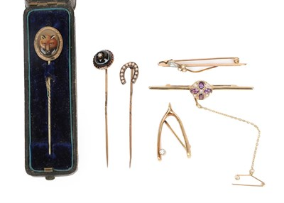 Lot 2035 - A Collection of Jewellery, comprising a 9 carat gold amethyst and diamond bar brooch, length 5.8cm