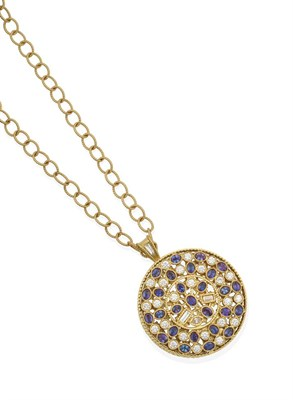 Lot 2036 - A Diamond and Alexandrite Pendant, by Mark Henry, the circular medallion set throughout with...