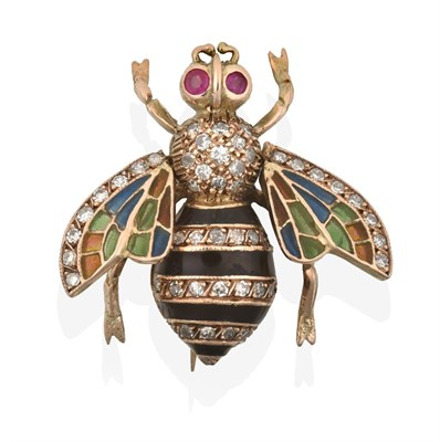 Lot 2043 - An Edwardian Plique-a-Jour Enamel, Ruby and Diamond Bee Brooch, realistically modelled with...