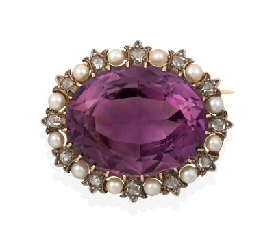 Lot 2045 - An Amethyst, Pearl and Diamond Brooch, the oval cut amethyst within a border of twelve rose cut...