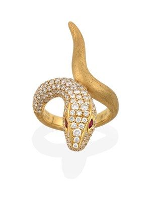 Lot 2049 - A Ruby and Diamond Snake Ring, the head pavé set with round brilliant cut diamonds and round...