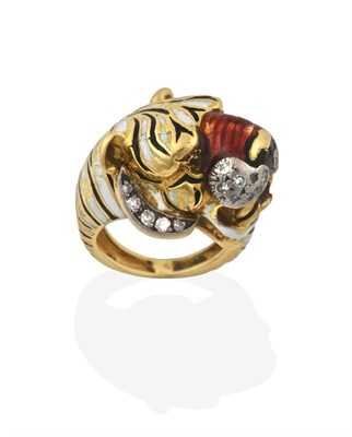 Lot 2051 - An Enamel and Diamond Ring, in the style of Kutchinsky, realistically modelled as a yellow...