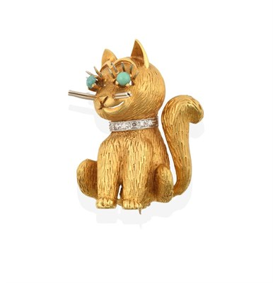 Lot 2054 - An 18 Carat Gold Brooch, realistically modelled as a seated cat, with an eight-cut diamond set...