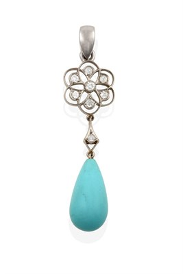 Lot 2060 - An Edwardian Turquoise and Diamond Pendant, by Black, Starr & Frost, an openwork foliate motif...