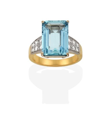 Lot 2062 - An 18 Carat Gold Aquamarine and Diamond Ring, the emerald-cut aquamarine in a white four claw...