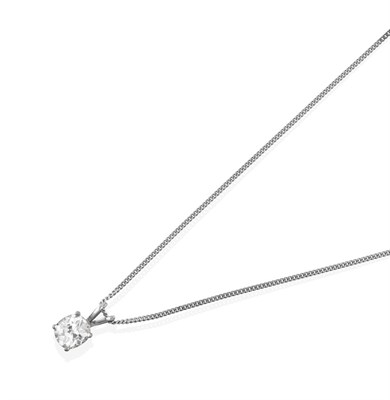 Lot 2072 - A Diamond Solitaire Pendant on Chain, the cushion cut diamond in a white four claw setting,...