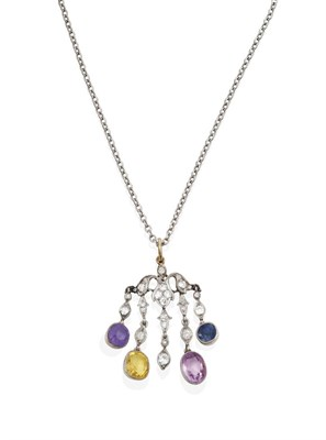 Lot 2078 - An Early 20th Century Sapphire and Diamond Pendant on Chain, the scroll motif suspends five...