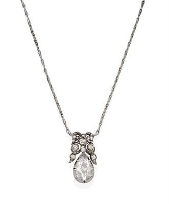 Lot 2080 - A Late 19th Century Diamond Necklace, the pear shaped diamond surmounted by scrollwork set...