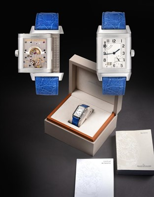 Lot 2151 - A ''Grande'' Stainless Steel Eight Day Power Reserve Calendar Reverso Wristwatch, signed Jaeger...