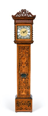 Lot 292 - A Marquetry Eight Day Longcase Clock, signed Edward Stanton, London, circa 1700, carved winged...