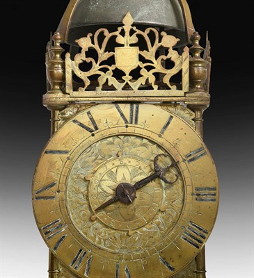 Lot 281 - A Rare and Early Brass Striking Lantern Clock, signed Richard Beck at Ye French Church,...