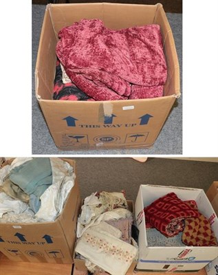 Lot 1005 - Assorted textiles, linen, chenille cloths, late 19th century silk and wool scarves, printed...