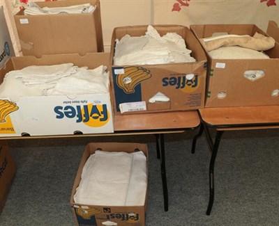 Lot 1006 - Assorted white linen cloths, cotton bed linen, table linen, linen towels, etc many with crochet...
