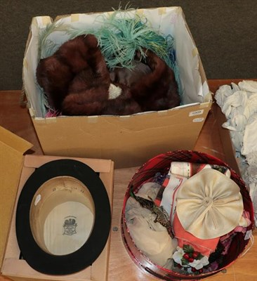 Lot 1008 - Assorted accessories comprising assorted ostrich and other feathers, Lincoln Bennett black top...