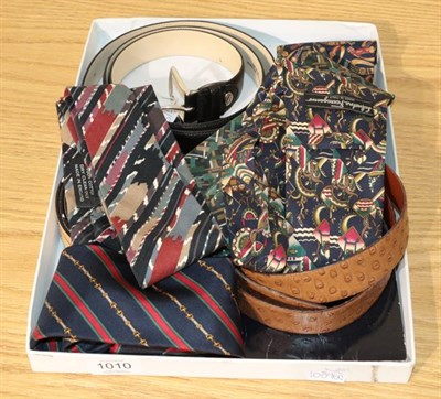 Lot 1010 - Assorted costume accessories, comprising a Burberry silk scarf 'The Burberry Diary' (in...