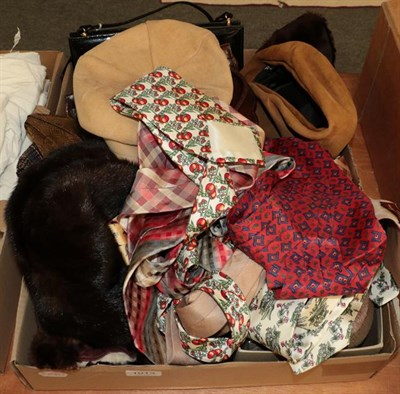 Lot 1013 - Assorted costume accessories including a pair of brown hide boots with sheepskin lining, pair...