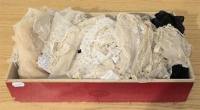 Lot 1015 - Assorted black lace stoles, white lace trimmings, lace remnants and part flounces etc (one box)