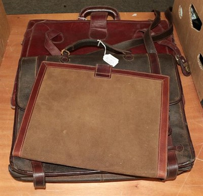 Lot 1018 - A Mulberry leather briefcase with detachable shoulder strap, brass fittings and buckles to the...