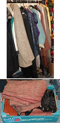 Lot 1019 - A quantity of assorted costume, including gents jacket and overcoats, white evening jackets, a Jean
