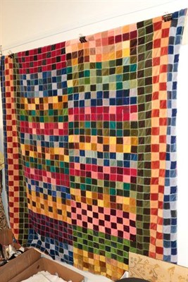 Lot 1023 - Large modern velvet patchwork bed cover using a variety of colours, embroidery to the edges,...