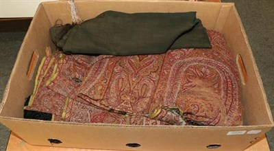 Lot 1026 - Late 19th Century large woven paisley shawl, black wool shawl with floral embroidery and a...