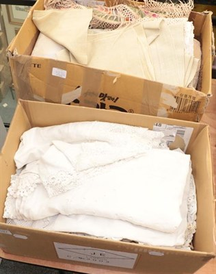 Lot 1027 - Assorted white linens and textiles, crochet items, embroidery including embroidered circular...