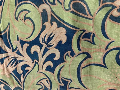 Lot 1028 - Pair of stylish early 20th century green and gold curtains and a pelmet (a.f.), two Indian...