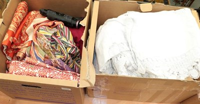 Lot 1030 - Quantity of white cotton undergarments, linen, eastern costume, obi's etc (two boxes)