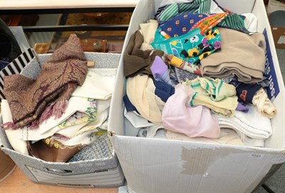 Lot 1043 - Assorted linen, textiles and costume accessories including 1930's embroidered textiles, bed and...