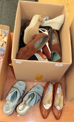 Lot 1045 - Assorted circa 1940's and later ladies shoes including pair of North British century black...