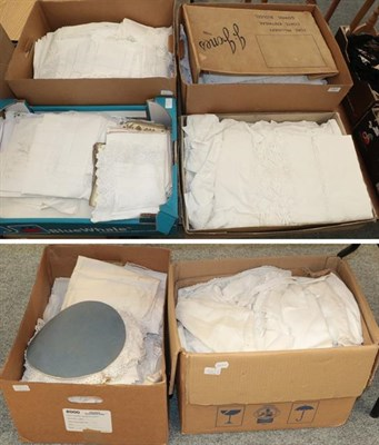 Lot 1047 - Assorted white linen, embroidered textiles, crochet trims, linen etc (six boxes)