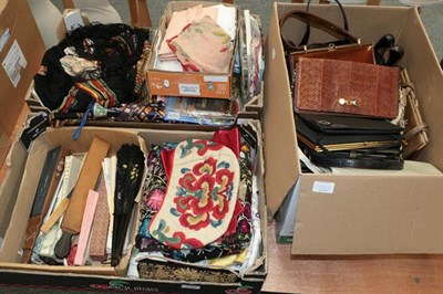 Lot 1048 - Assorted handbags, fans, embroidery, shawls, tights, stockings, hankie's etc (three boxes)