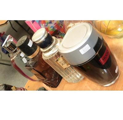 Lot 1051 - Large glass scent bottle dummy factices, comprising Boss Elements, Hugo Boss Energise, Lanvin...