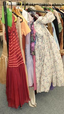 Lot 1061 - Assorted ladies mid 20th century evening wear and other costume (part rail)