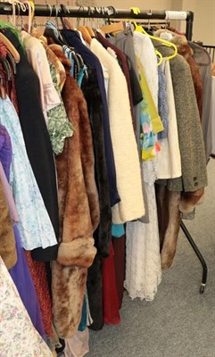 Lot 1062 - Quantity of 1940s and later costume, cotton dresses, separates, faux fur and other jackets etc