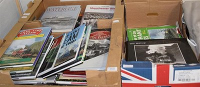 Lot 1070 - Three boxes of reference books predominantly on steam trains, also including shipping together with